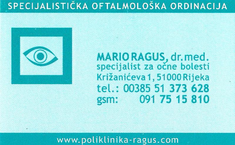 Mario Ragus, dr.med. - Specijalist oftalmologije